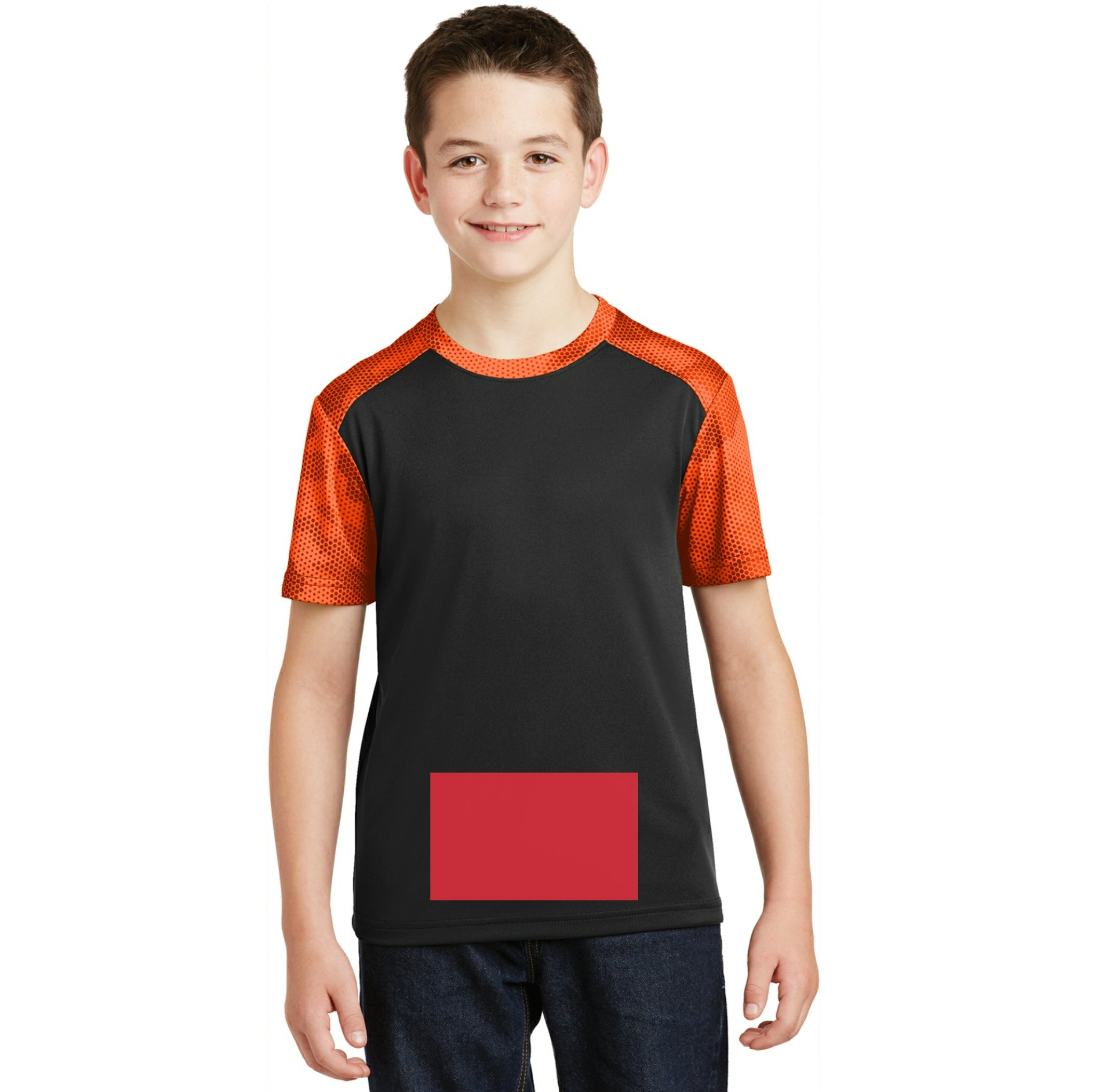 attached front panel camohex colorblock children's tee Black/Orange Camohex