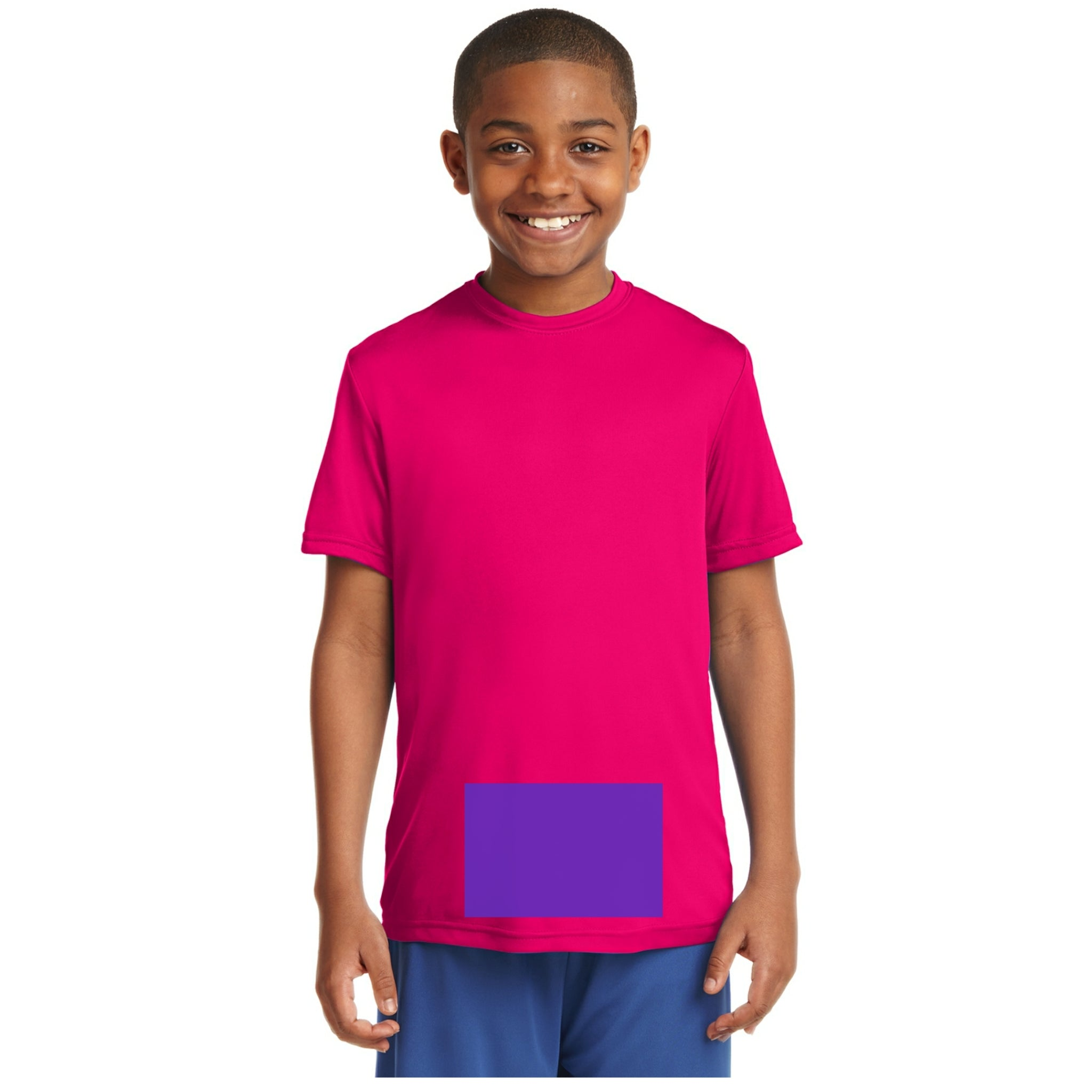 attached front panel solid color children's tee Pink Raspberry