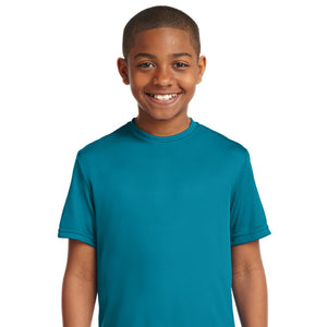 attached front panel solid color children's tee Tropic Blue