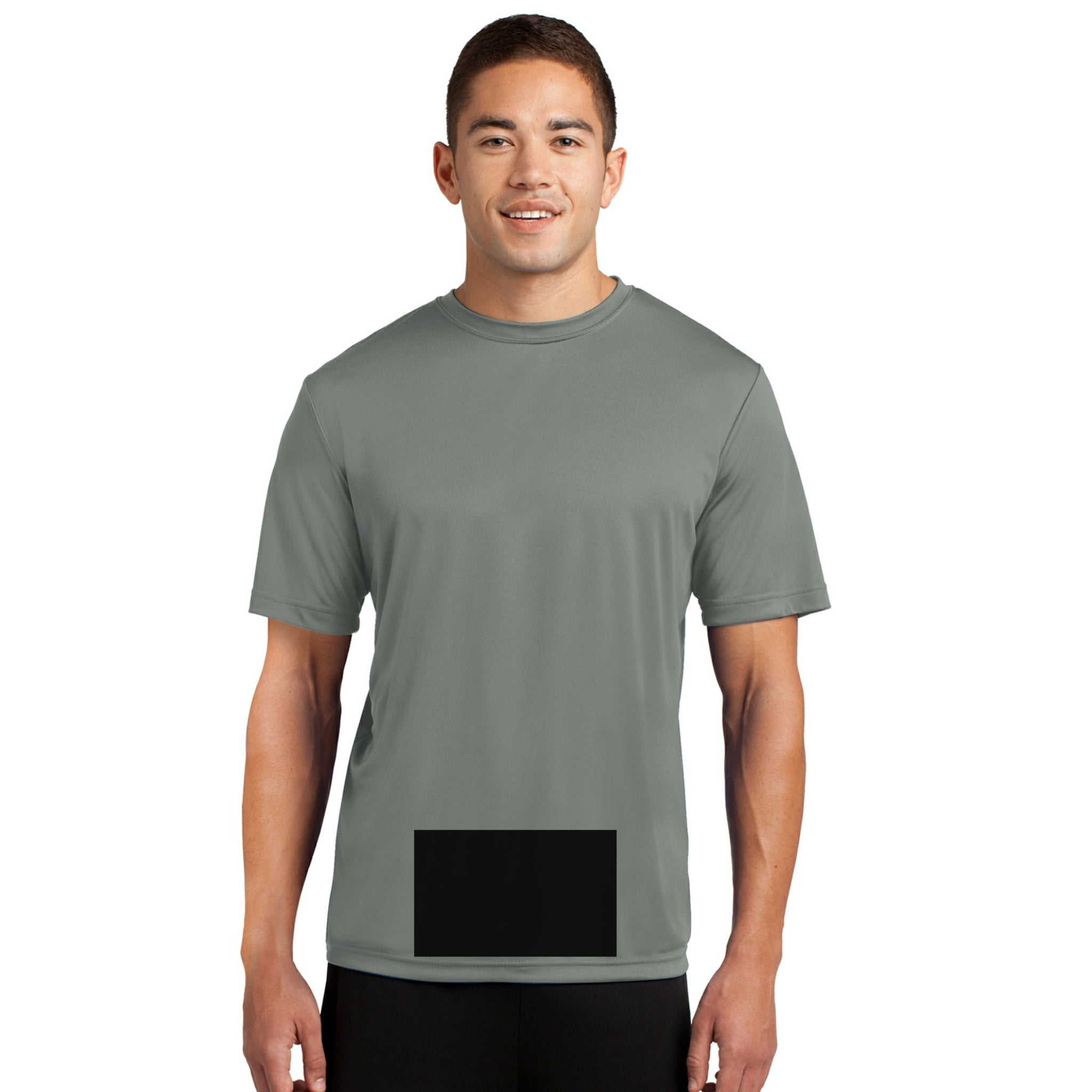 attached front panel solid color tee Gray