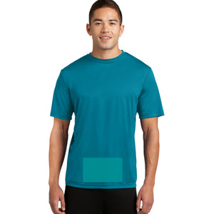 attached front panel solid color tee Tropic Blue