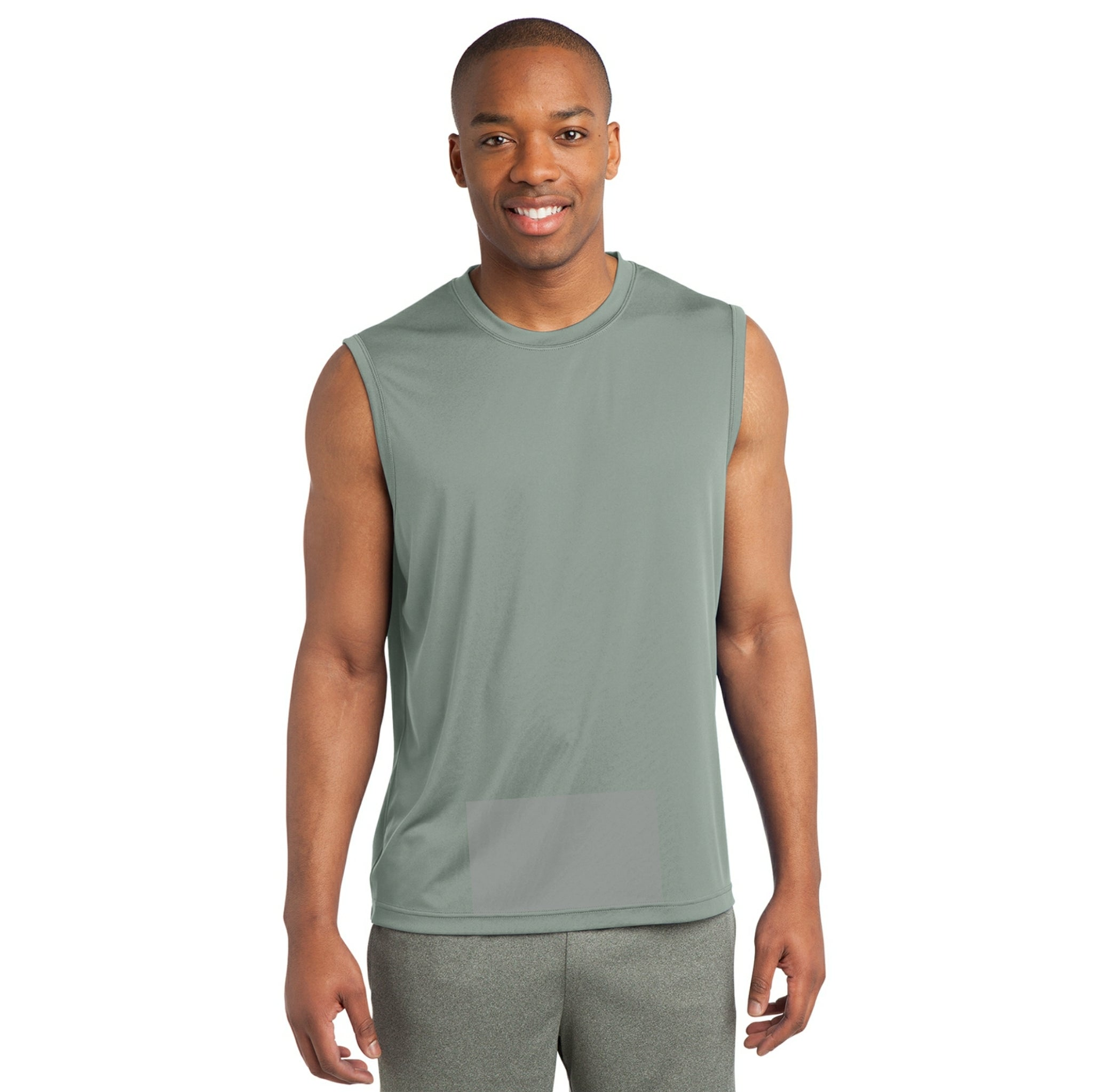 attached front panel solid color sleeveless tee Silver