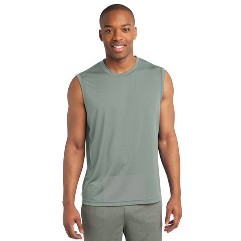 attached front panel, silver sleeveless tee