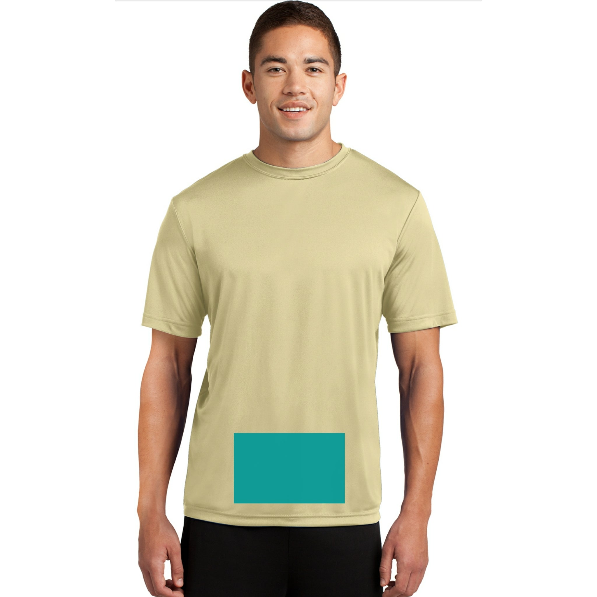 attached front panel solid color tee Vegas Gold
