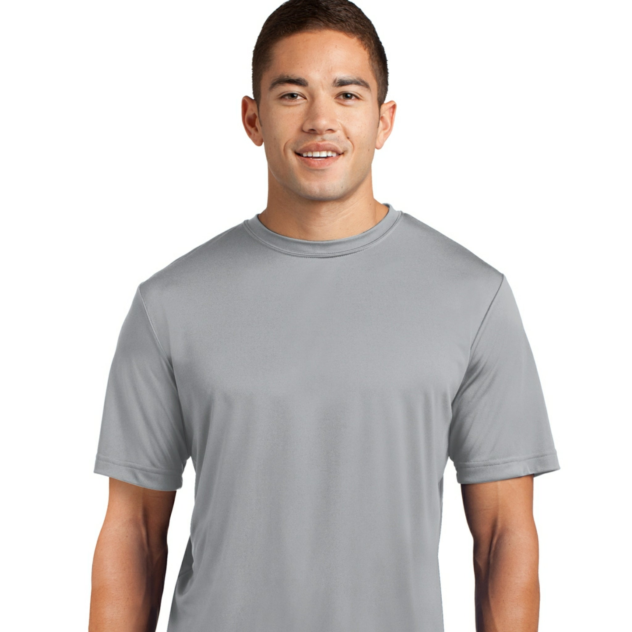 attached front panel solid color tee Silver
