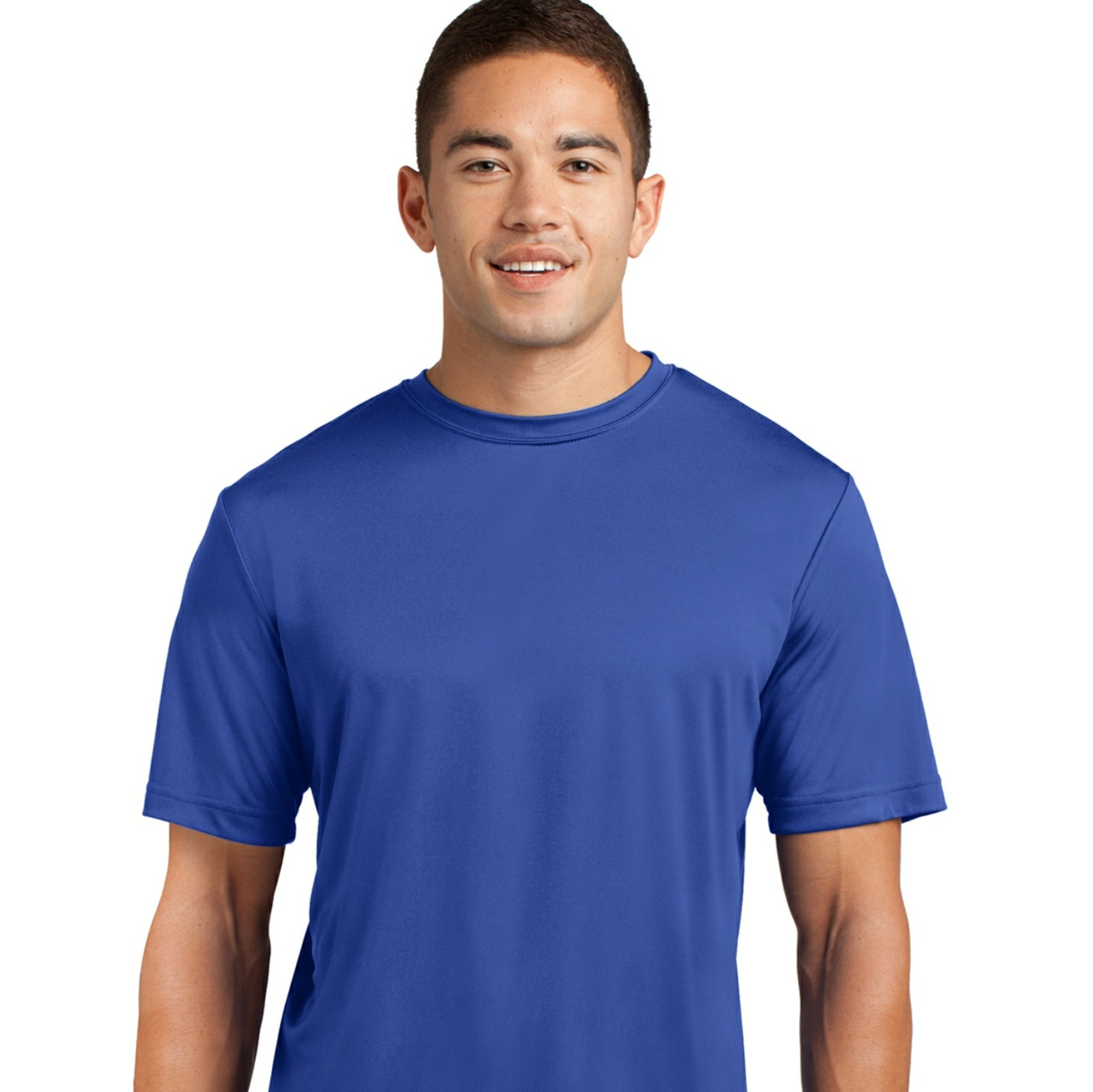 attached front panel solid color tee Royal Blue