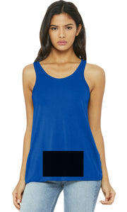 attached front panel, royal blue racerback tank top