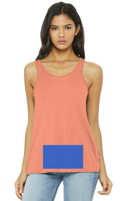 attached front panel, sunset racerback tank top