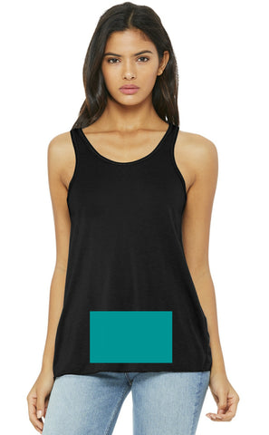 attached front panel, black racerback tank top