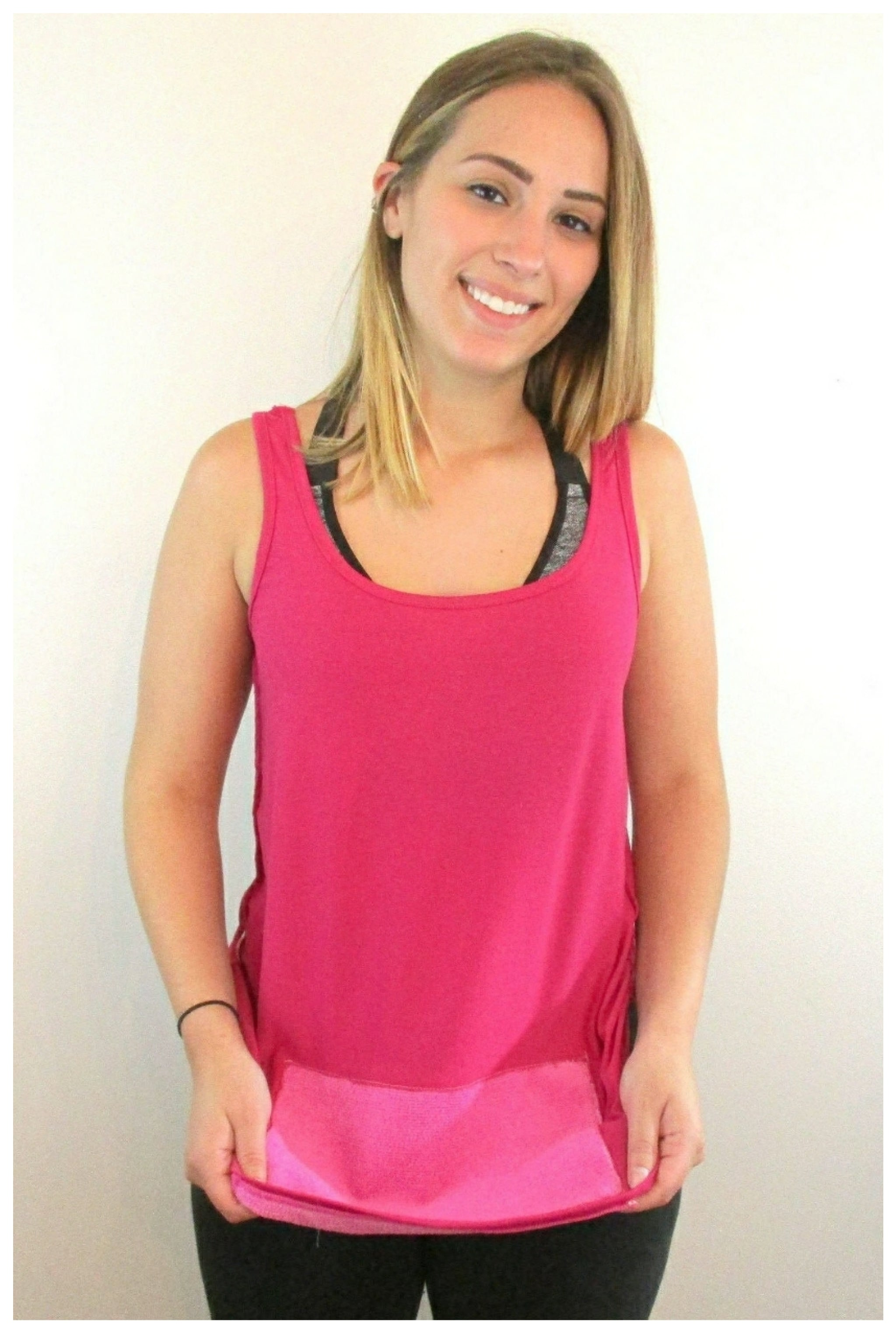 attached front panel, racerback tank top