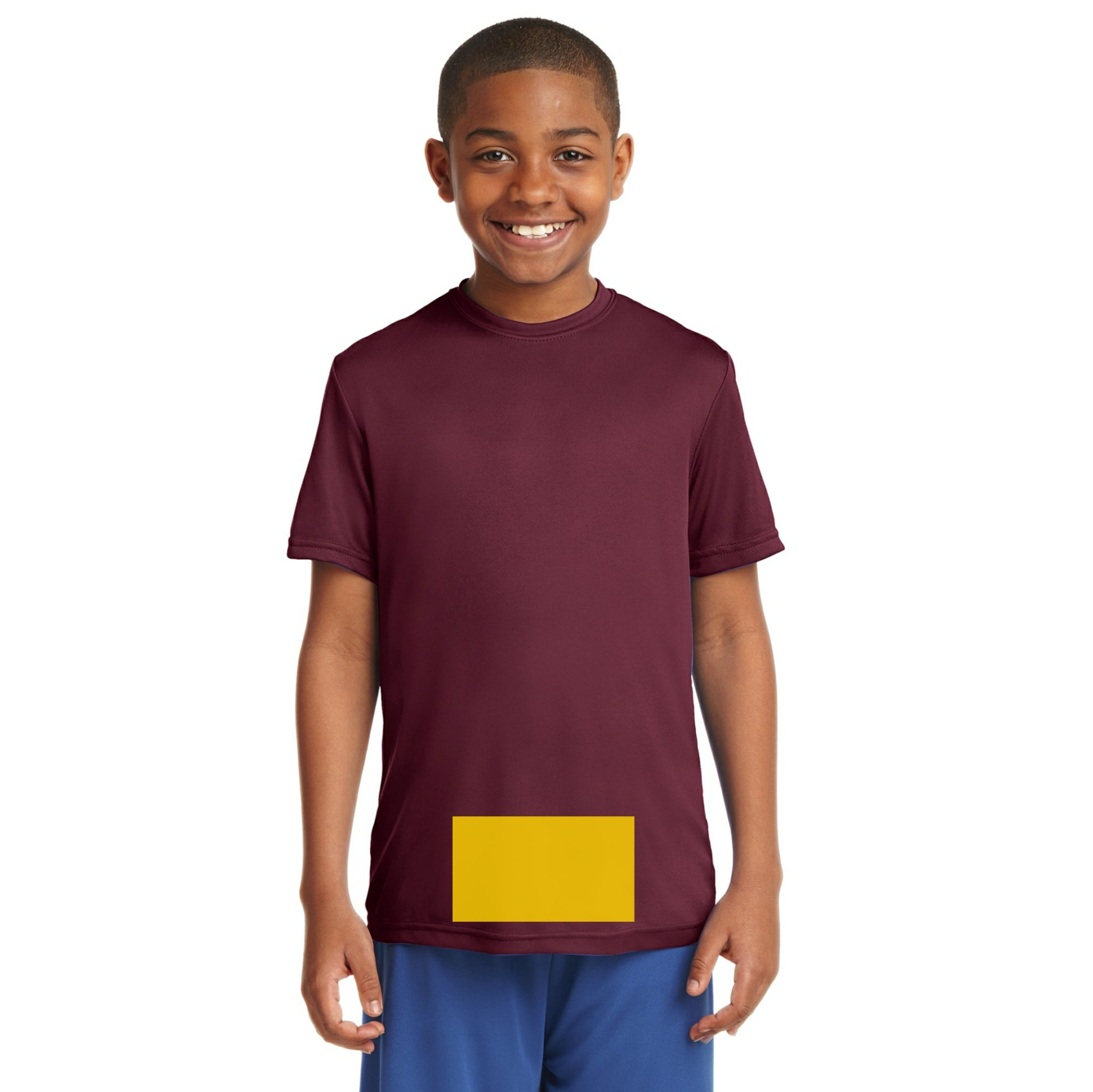 attached front panel solid color children's tee Cardinal Red