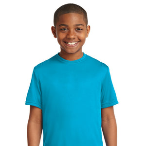 attached front panel solid color children's tee Atomic Blue