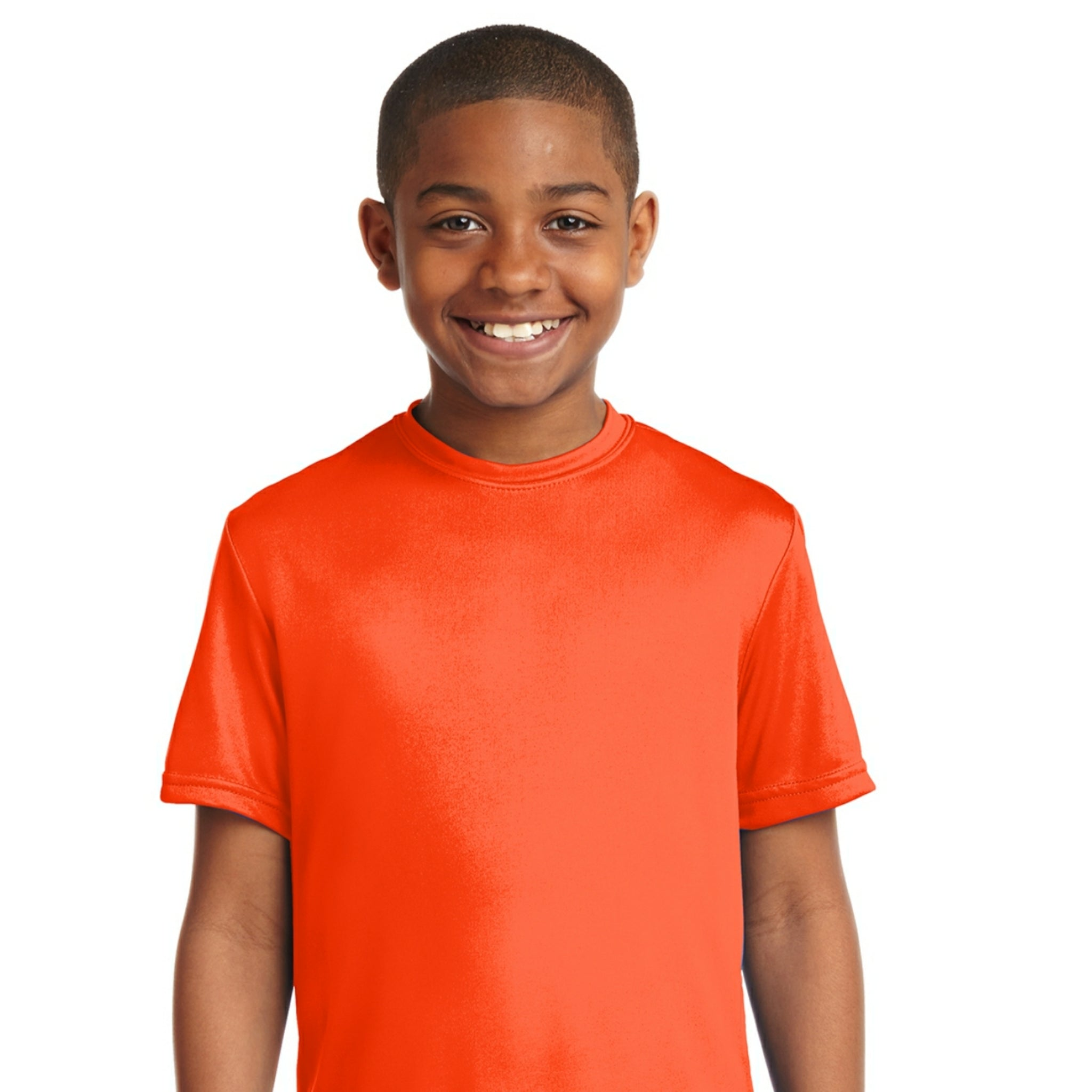 attached front panel solid color children's tee Orange