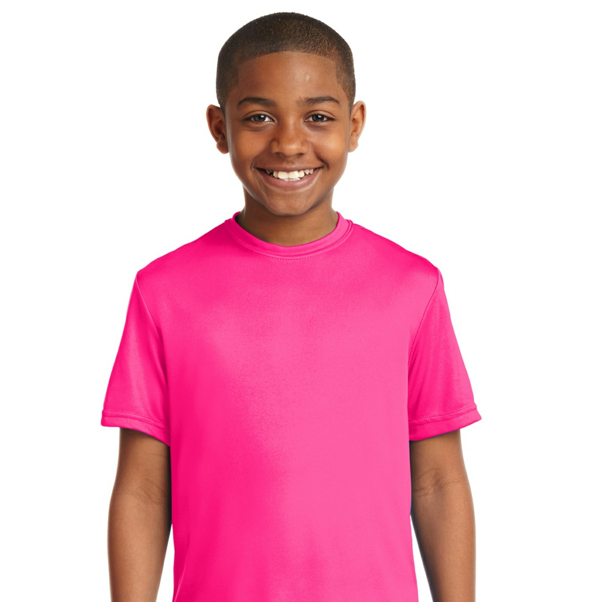 attached front panel solid color children's tee Neon Pink