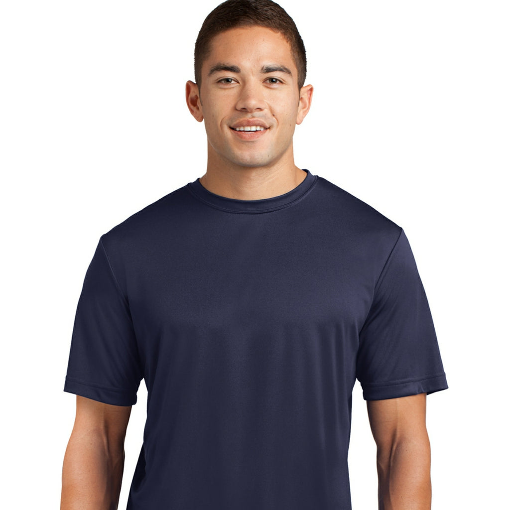 detachable panel, solid color tee, navy