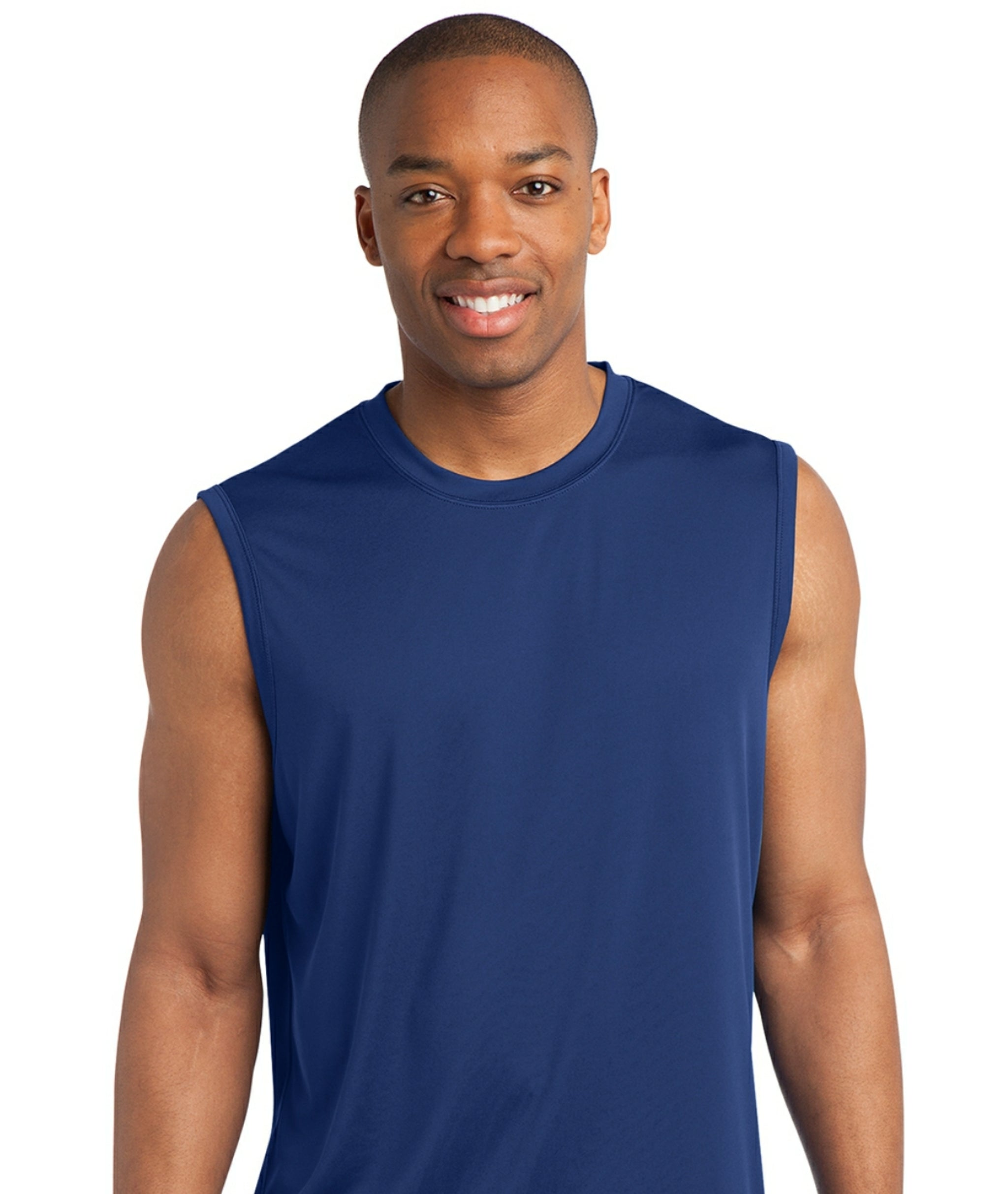 detachable panel, sleeveless tee, royal blue