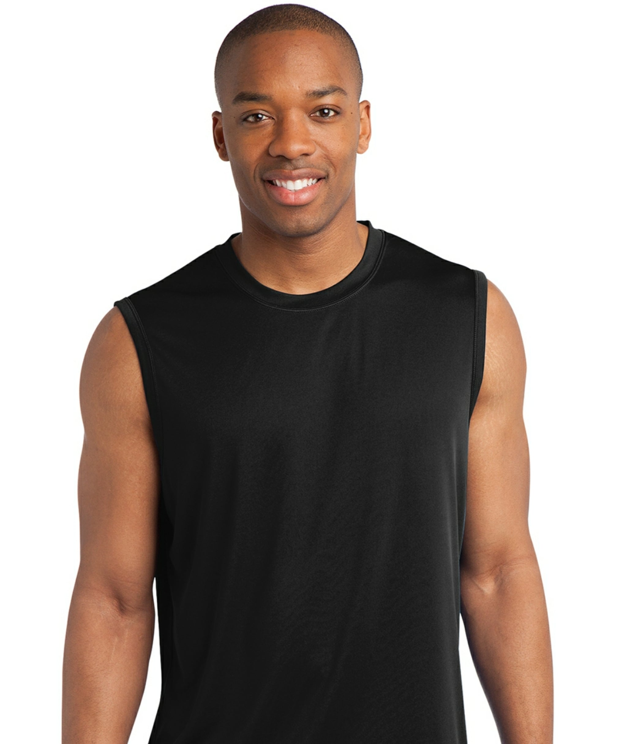 detachable panel, sleeveless tee, navy