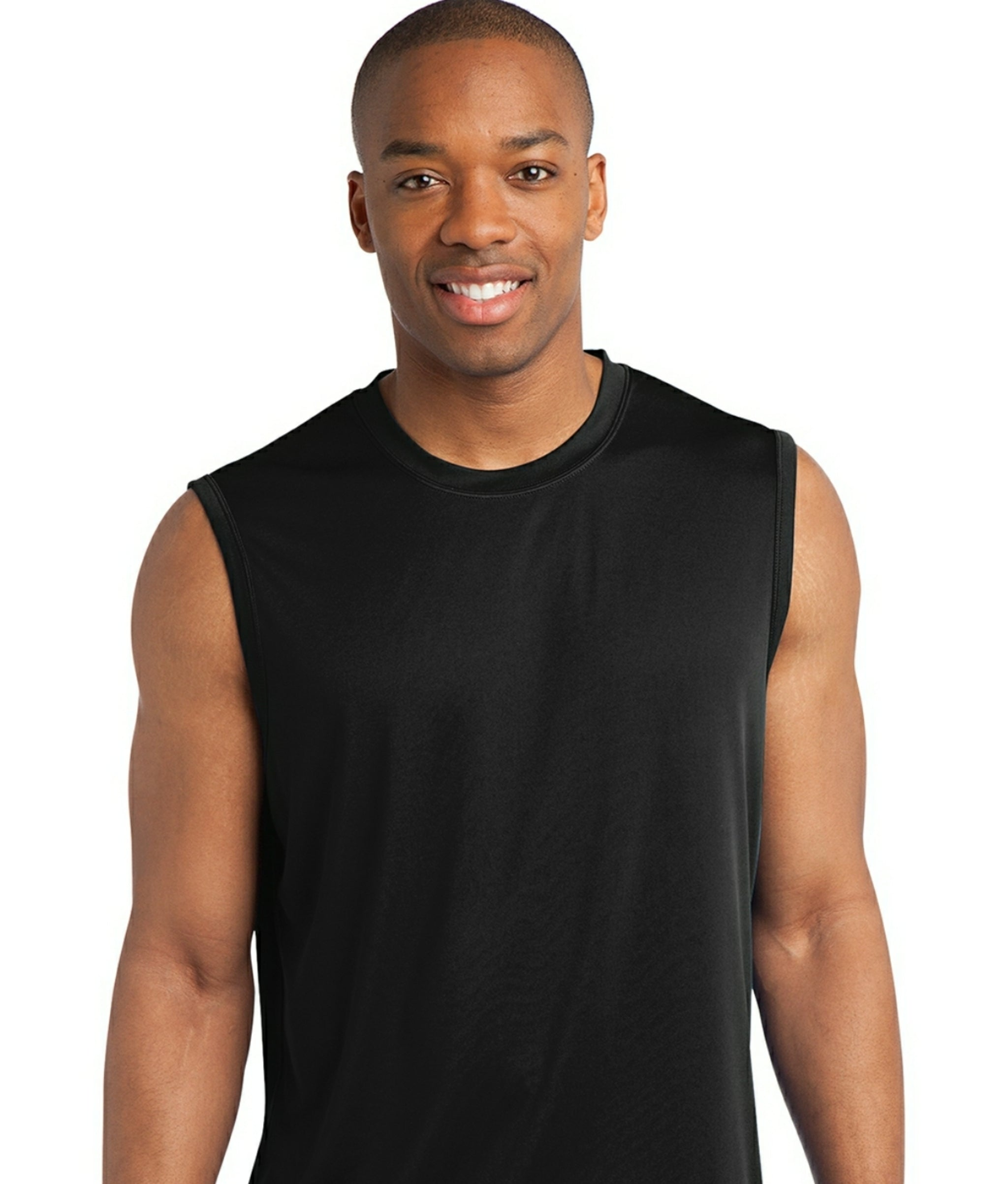 detachable panel, sleeveless tee, black