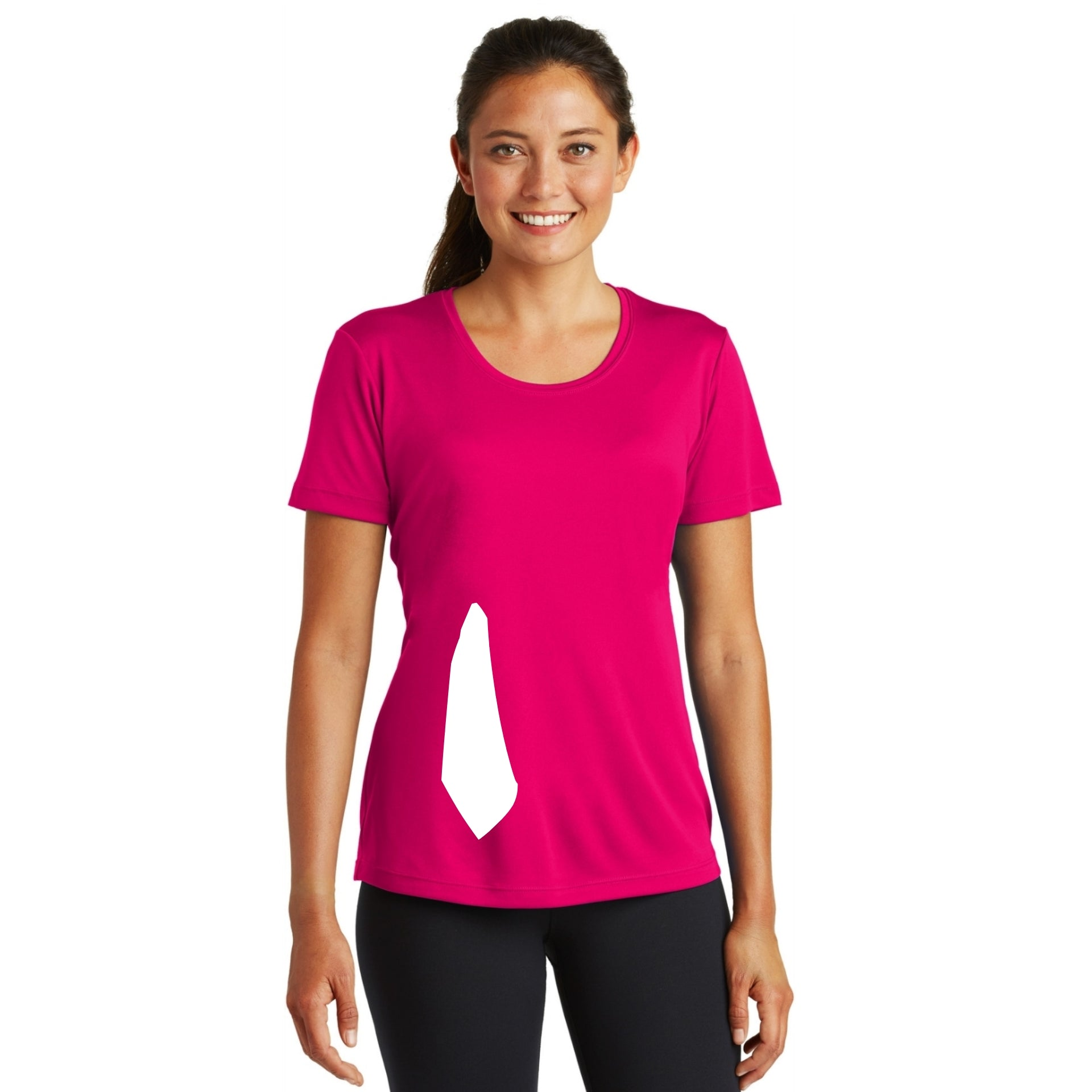 detachable panel with snap fastener, tee - pink raspberry