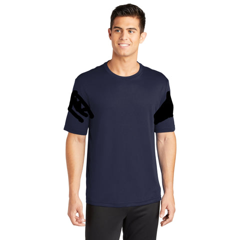 sleeve panels, black tee