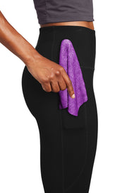 Women's Leggings, in Black, with Snap-On Mini-Towel in Pink or Lavender