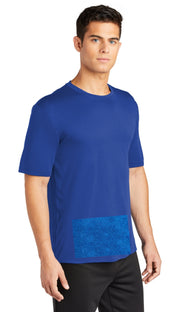 Men's Tee in Royal Blue with Attached Front Panel