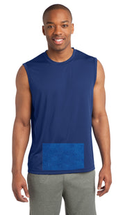 attached front panel, royal blue sleeveless