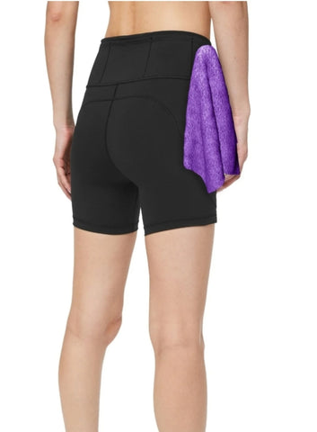 Women's Fitness Shorts, in Black, with Detachable Mini-Towel