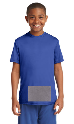 attached front panel, royal blue tee