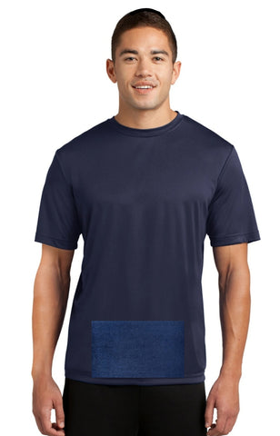 attached front panel, navy blue tee