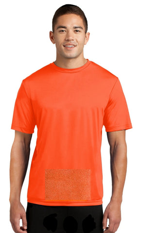 attached front panel, orange tee