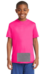 attached front panel, neon pink tee