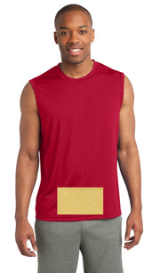 attached front panel, red sleeveless tee