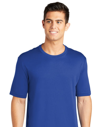 detachable panel, royal blue tee