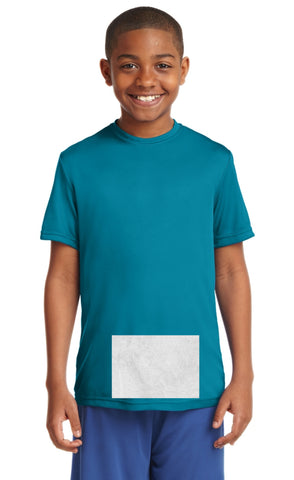 attached front panel, tropic blue tee