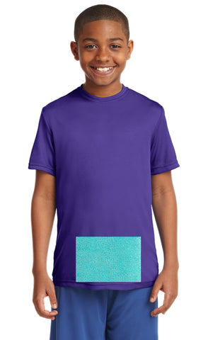 attached front panel, purple tee