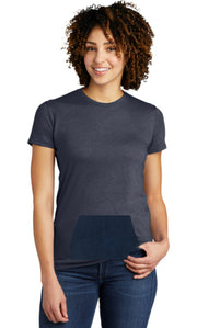 tee with pocket - navy, round neck