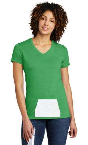 tee with pocket - green, v-neck