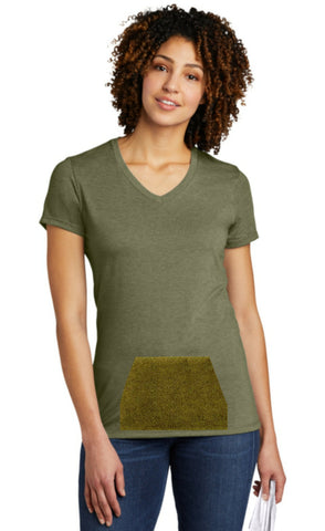 tee with pocket - olive, v-neck