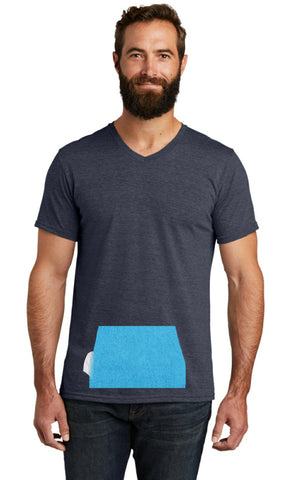 tee with pocket - navy, v-neck