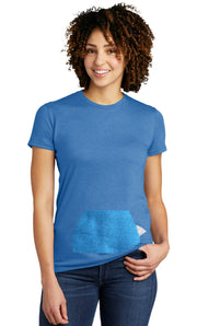 tee with pocket - blue, round-neck