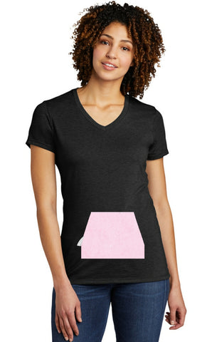 tee with pocket - black, v-neck