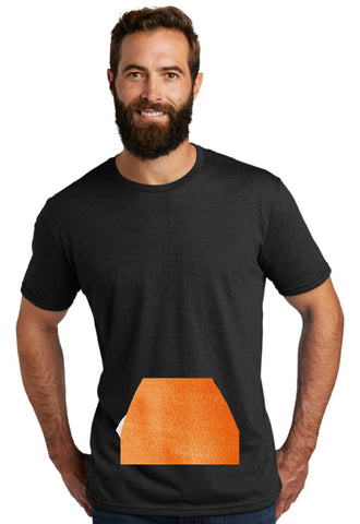 tee with pocket - black, round neck
