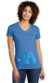 tee with pocket - blue, v-neck