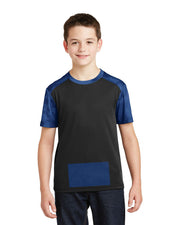 Youth Attached Panel Tee in Camohex Black/Blue