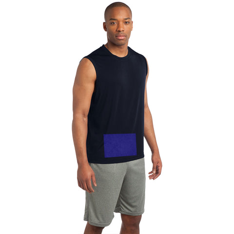 Men's Sleeveless Tee in Navy Blue with Attached Front Panel