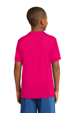 Youth Attached Panel Tee Shirt in Raspberry Pink and Purple Panel