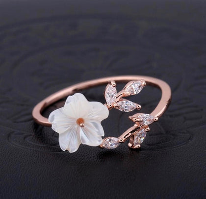 ANILLO PEARL FLOWER RING FLOR BLANCA
