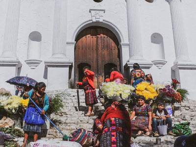 The textile market of Chichicastenango in Guatemala