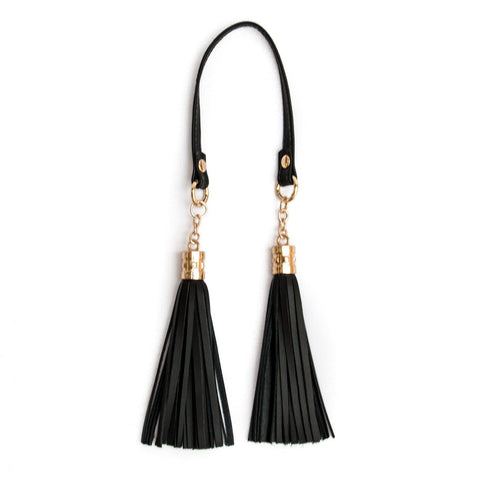 LEATHER DOUBLE POM POM - BLACK - Mayalla